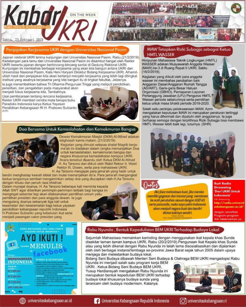 Kabar UKRI edisi 23 Februari 2019