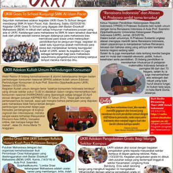 Kabar UKRI edisi 16 Maret 2019
